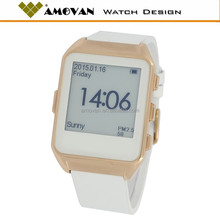oem bluetooth touch screen E-ink display stianless steel smart watch, screen always on bluetooth watch