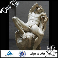 Natural handicraf life size erotic nude man statues garden carved marble erotic statues