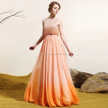 Gradient Beaded Host Clothing Evening Dress for Annual Meeting