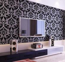classic wall paper home decor background wall damask wallpaper black floral wallcovering 3d velvet wallpaper living room WP007