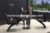 Cheap Modern round tempered glass dining table
