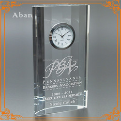 Personalized table decoration crystal clock for business gift