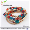 colorful glass bead bracelet with plastic beads and flower elastic bracelet