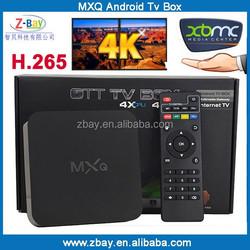 MXQ android tv box quad core support 4K movies and H.265 decoder XBMC kodi internet box