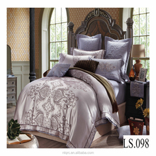 100% cotton bright color bed sheet set king size 3d embroidery indian comforter sets luxury wedding jacquard silk bedding set