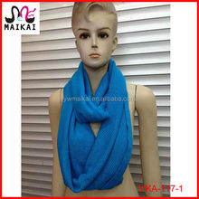 Wholesale new fashion plain acrylic knitting pattern infinity scarf