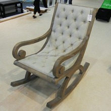 Solid wood stuffed fabric upholstered lounge chair rocking chair