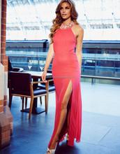 Fashion Backless Evening Dresses Gowns Halter Side Split Beaded Halter