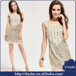 sleeveless mini length sequin evening dress