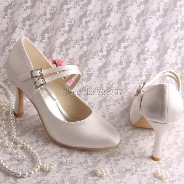 Wedopus 9cm Mary Janes Pure Color Wedding Shoes Round Toe with Buckle Decoration