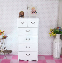 white simple tall cabinet with 6 draws,solid wood storage cabinet