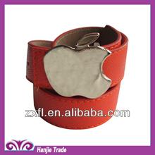 Guangzhou Newest stlye Wholesale fashion orange PU belt with apple buckle