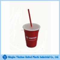 Food grade 16oz insulated plastic travel tumblers with lids and straw