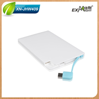 2015 Best gift credit card power bank built in cable ultra slim charger for cellphone