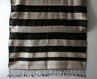 Laos Silk Striped Scarf - Black and Grey