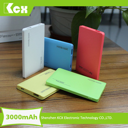 Ultra thin sixy video rechargable power bank travel 3000mah mobile power pack