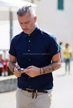 Mens plain navy blue polyester cotton mixed summer short sleeves business leisure shirt