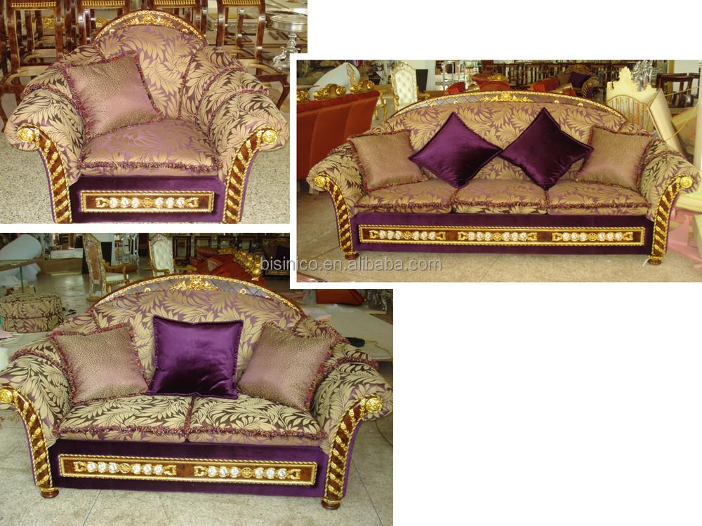 Salon Classique Tissu : Luxe français antique style baroque tissu canapé laiton