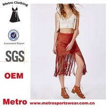 OEM Manufacturer 2015 Custom made Women Fuax Leather Fringe Midi Skirts