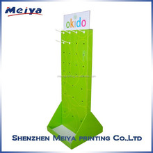 Two sides High quality peg hooks display stand,paper cosmetic white plastic peg hook cardboard display from china factory