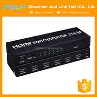 Wholesale factory supply high quality HDMI switch/Splitter 2*4 with 3.5MM Aux audio/SPDIF audio output; Full HD 1080P 3D