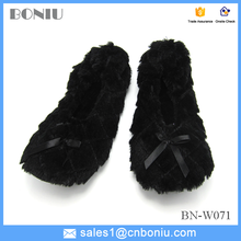bow casual house warm lady flat shoes