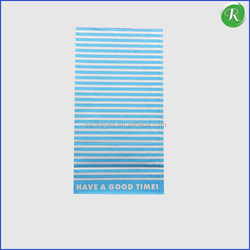 Blue Stripes Paper Bag with Square Bottom / Braed Packing Bag