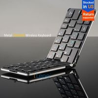 Multi-language Mini Smart Bluetooth 3.0 Air Mouse Keyboards Aluminum+PC Portable Folding Wireless Keyboard for iPhone Android