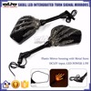 BJ-RM-064 New Arrival Universal Skull LED Intergrated Turn Signal Light Motorcycle Rearview Mirror