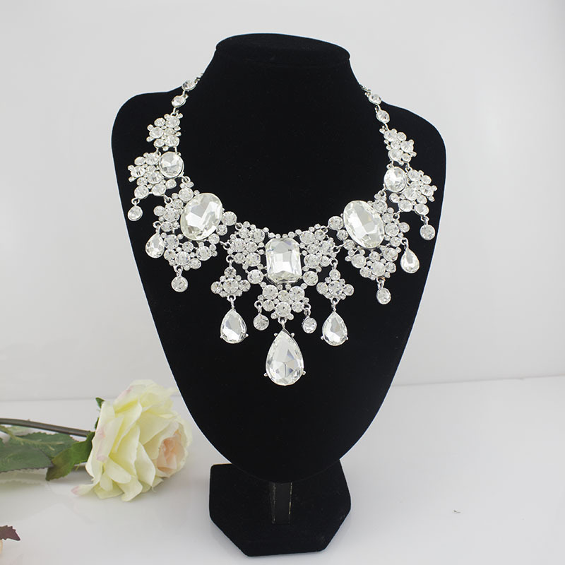 New Arrival Limited Jewelry Set  Bride Jewelry Luxury European-style Tassel Necklace Earrings Big Crystal Wedding Accessories