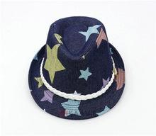 wholesale stars printed kid children denim Fedora hat with ribbon