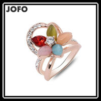 2015 Colorful Opla Stone Flower Rings Beautiful Female Rings For Women FGJ0125