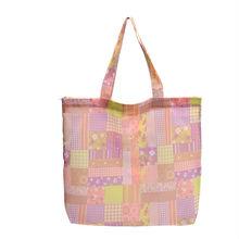 Square Plaid Pink Nylon Canvas Fashion Eco-friendly Printed Shopping Bag