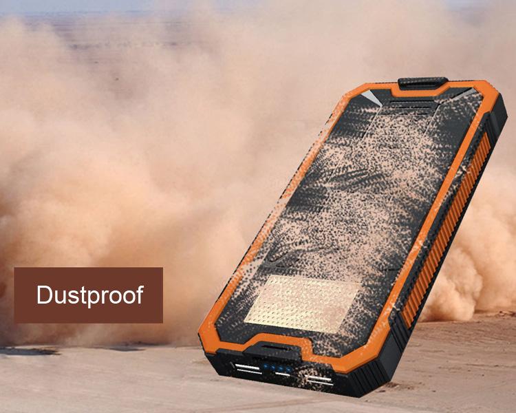 Dustproof 12000mah solar power bank