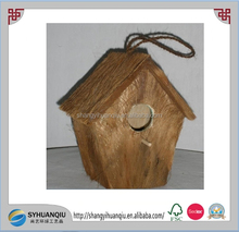 Cheap unfinished small Bird house wooden bird cage with rope