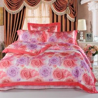 Home textile rose pattern bright color reactive printing luxury bed sheet sets king size bedding set 100% cotton