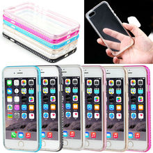 Bling Bling Diamond metal bumper case for iPhone 6 with hard PC back