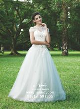 manga cofia de encaje de cuentas vestido de novia de encaje