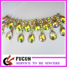 hot sale wholesale rhinestone cup chain with gold trimming