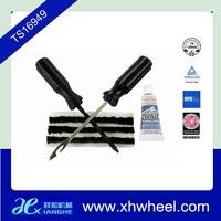 Tire Repair Kit - Plug Patches Strings/Rasp, Inserting Tool/Glue Cement
