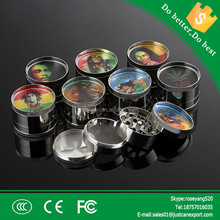 2015 factory hot selling custom 4 parts metal made black herb grinder with low price