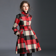Winter Style Thicker Grid Double-Breasted Wool Trench Coat A203 For Women