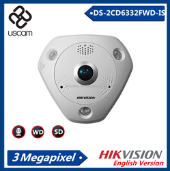 Hikvision 3.0MP Network Fisheye Audio 360 Degree CCTV Camera, Indoor IP Camera DS-2CD6332FWD-IS