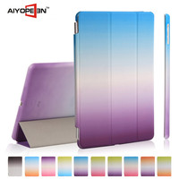 New arrival case stand ultra thin magnetic smart cover auto wake sleep for ipad 5 folded 3 styles rainbow colour cases