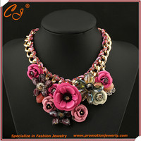 Europe and the United States of big shop sign color flower crystal pendant rope woven necklace