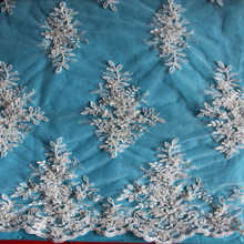 New style fancy beaded lace fabric/Elegant beaded French lace for garment wholesale