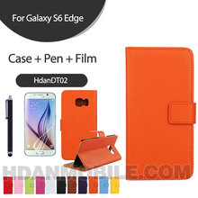 Trade Assurance OEM Embossed LOGO For Genuine Leather Wallet Case for Samsung Galaxy S6 Edge