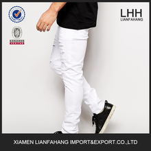2015 Fashion Style Skinny White Jeans With Extreme Rips For Young Men