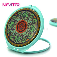 Fancy color small round custom epoxy sticker spray painting metal compact mirror
