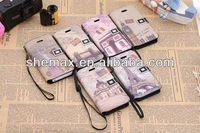 Hot Selling Phone Protector Handbags, Deluxe PU Leather Historic Scenic Folio Case Cover For Various Mobile Phone